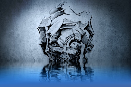 Fantasy clown tattoo with water reflection. Illustration design over rusty blue wall illustration