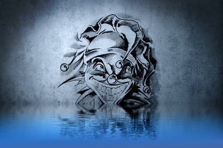 Fantasy dwarf tattoo with water reflection. Illustration design over rusty blue wall illustration