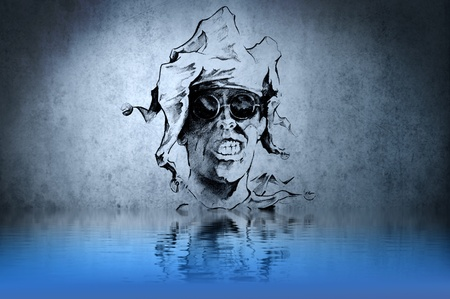 Witch or sorcerer tattoo on blue wall with water reflections Stock Photo - 13344495