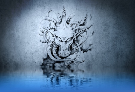 Stone gargoyle tattoo on blue wall reflections in the water Stock Photo - 13344492