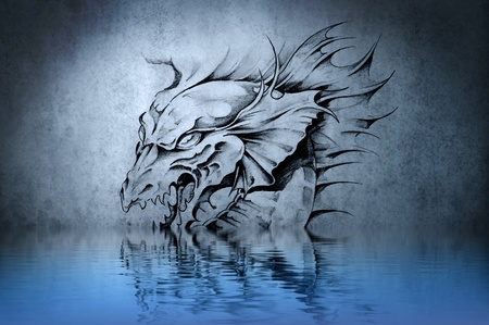 Aggressive fantasy Dragon tattoo on blue wall reflections in the water photo