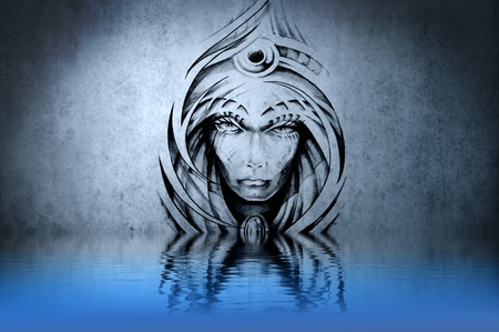 Stone gargoyle tattoo on blue wall reflections in the water Stock Photo - 13344557