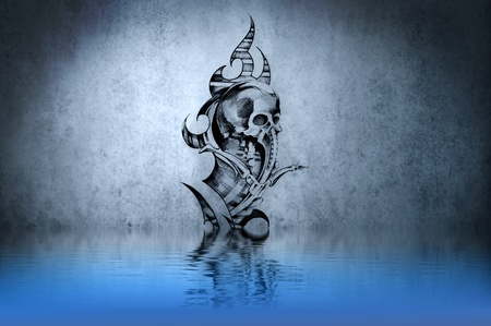 Tattoo drawing on blue wall with water reflections photo