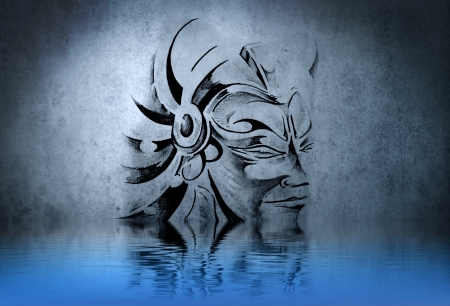 Warrior tattoo on blue wall with water reflections photo