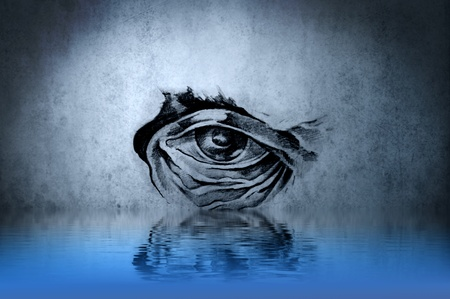 Tattoo animal eye on blue wall with water reflections photo