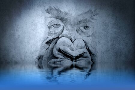 Gorilla tattoo on blue wall with water reflections photo