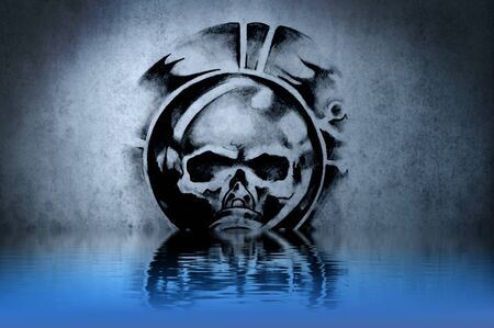 Warrior Skull tattoo on blue wall with water reflections photo