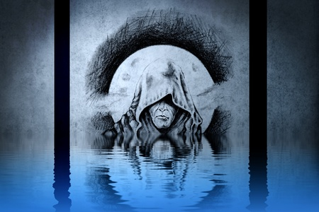 Demon head tattoo on blue wall reflections in the water photo