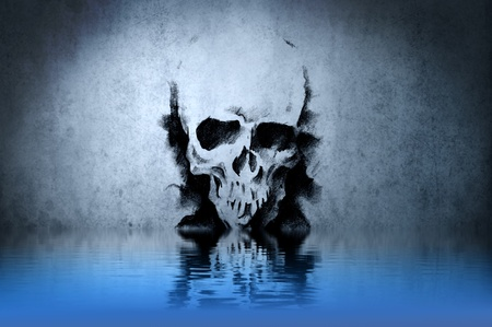 Warrior Skull tattoo on blue wall with water reflections Stock Photo - 13344502