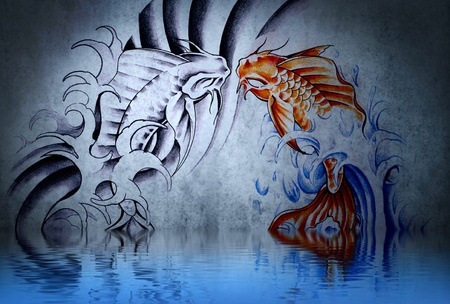Japanese carp tattoo on blue wall with water reflections Stock Photo - 13344539