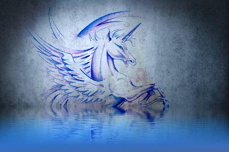 Tattoo purple unicorn with water reflection. Illustration design over blue wall illustration
