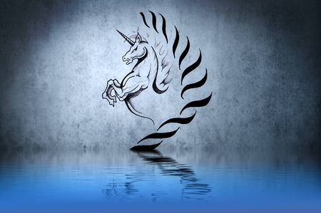 Tattoo cute unicorn with water reflection. Illustration design over blue wall Stock Illustration - 13344408