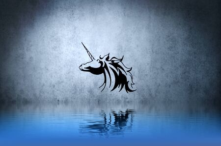 Tattoo small unicorn with water reflection. Illustration design over blue wall illustration