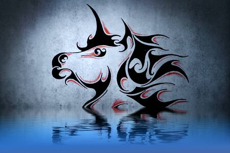 Tattoo unicorn with water reflection. Illustration design over blue wall illustration