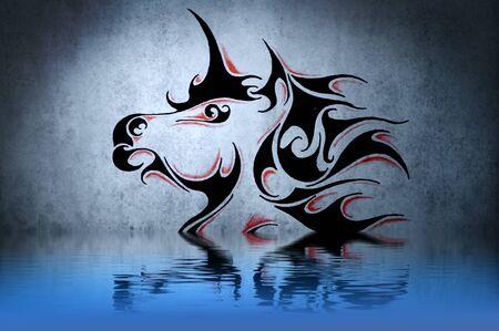 Tatuaje de unicornio con la reflexi�n del agua. Ilustraci�n de dise�o sobre la pared azul Foto de archivo - 13344404