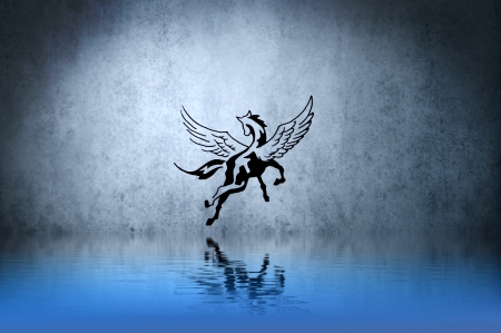 Tattoo horse with water reflection. Illustration design over blue wall illustration