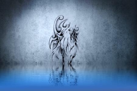 Tatuaje de unicornio gris con la reflexi�n del agua. Ilustraci�n de dise�o sobre la pared azul Foto de archivo - 13344405