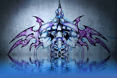 Tattoo robot with water reflection. Illustration design over blue wall illustration