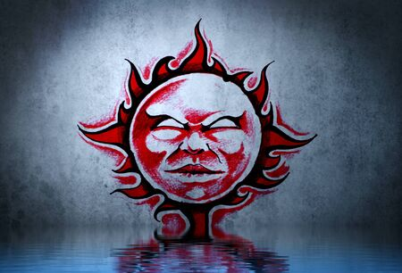 Tattoo red sun with water reflection. Illustration design over blue wall illustration