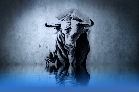Spanish bull tattoo on blue wall with water reflections photo