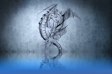 Medieval dragon tattoo on blue wall with water reflections Stock Photo - 13344504