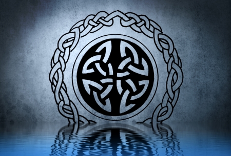 Celtic tattoo drawing on blue wall with water reflections Stock Photo - 13344427