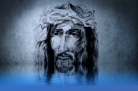 Jesus Christ, drawing on blue wall reflections in the water photo