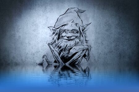 Goblin on blue wall with funny reflections on the water photo