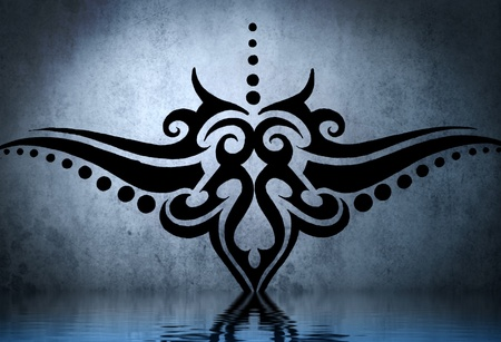 Tattoo tribal waist, hip with water reflection. Illustration design over blue wall illustration