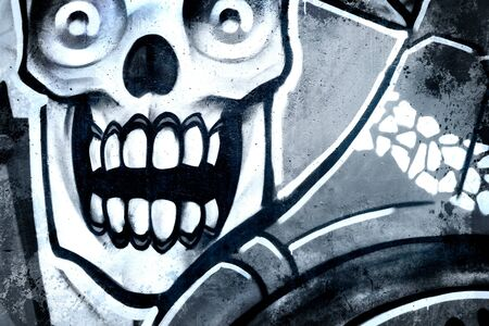 deface: Skull over old dirty wall, urban hip hop background Gray texture painted with bright colorful