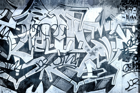 grafitti: Graffiti over old dirty wall, urban hip hop background Gray texture painted with bright colorful
