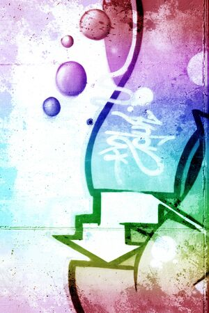 deface: Rainbow background over old dirty wall, urban hip hop background Gray texture painted with bright colorful