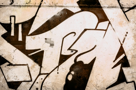 asbo: Brown Graffiti over old dirty wall, urban hip hop background Gray texture painted with bright colorful
