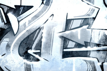 asbo: Graffiti over old dirty wall, urban hip hop background Gray texture painted with bright colorful