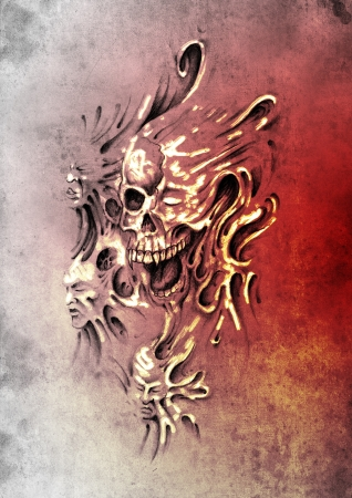 Sketch of tattoo art, monster heads under skin Stock Photo - 13454235