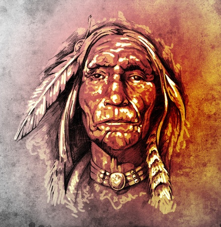 native american art: Sketch of tattoo art, portrait of american indian head