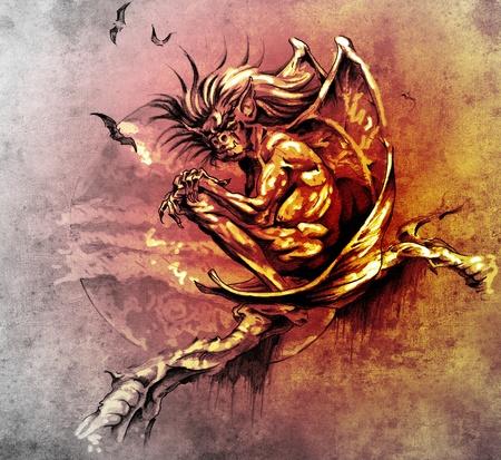 Croquis de l'art du tatouage, monstre gargouille assis dans un arbre Banque d'images