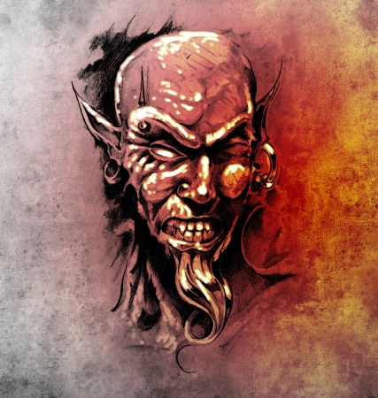 Sketch of tattoo art, devil head with piercing photo