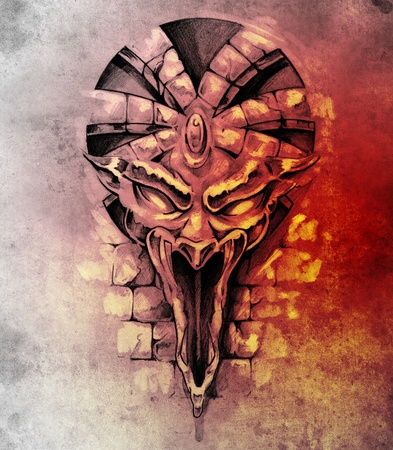 Sketch of tattoo art, rock gargoyle mask photo