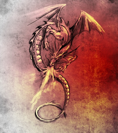 Sketch of tattoo art, Fantasy dragon. Sketch of tattoo art, medieval monster photo