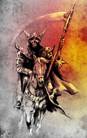 Death. Sketch of tattoo art, warrior at horse illustration illustration