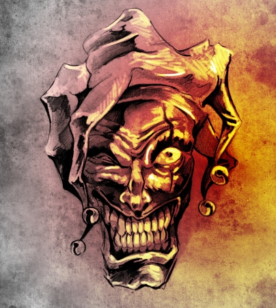 Fantasy clown joker. Sketch of tattoo art over dirty background