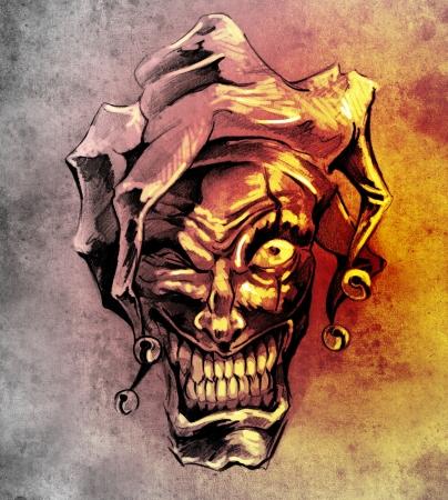 Fantasy pagliaccio burlone. Sketch di arte del tatuaggio su sfondo sporco