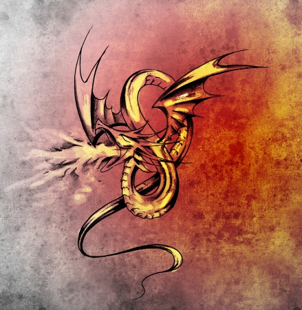 Medieval dragon figure. Sketch of tattoo art over antique paper photo