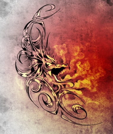 Sketch of tatto art, decorative medieval dragon photo