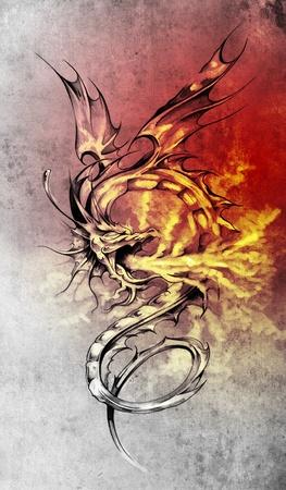 tatuaje dragon: Boceto de arte del tatuaje, la ilustraci�n del drag�n estilo