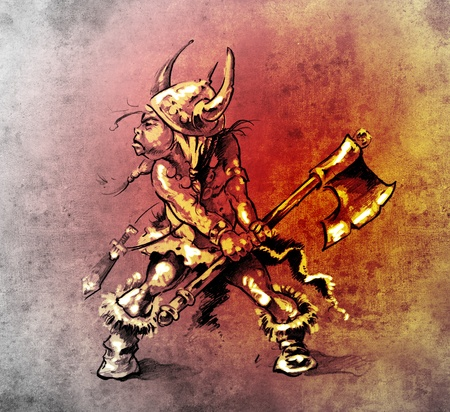 Sketch of tattoo art, funny little warrior with big axe photo