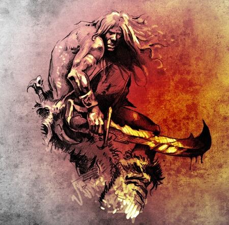 Sketch of tattoo art, warrior fighting with big sword Imagens