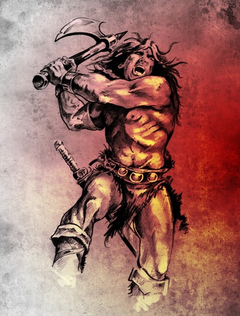 Sketch of tattoo art, warrior fighting with big axe photo