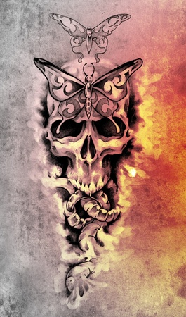 Sketch of tattoo art, skull, death concept illustration illustration